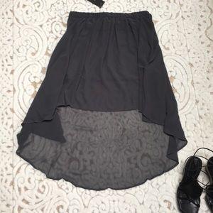Lined Chiffon High - Low Skirt